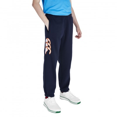 FLEECE CUFFED PANTS - NAVY/FIRECRACKER